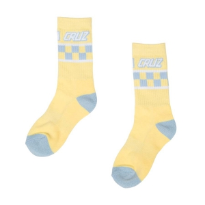 SANTA CRUZ / WOMENS CHECK SOCKS (PASTEL YELLOW)