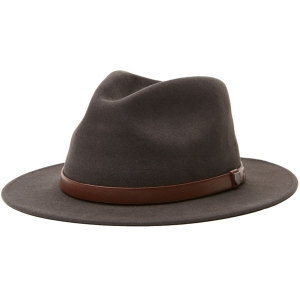 BRIXTON / MESSER PACKABLE FEDORA (WASHED BLACK/LIGHT BROWN)