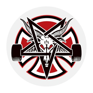 INDEPENDENT X THRASHER / PENTAGRAM CROSS STICKER 5""