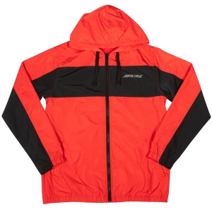 SANTA CRUZ / PANEL STRIP HOODED WINDBREAKER JACKET (RED/BLACK)