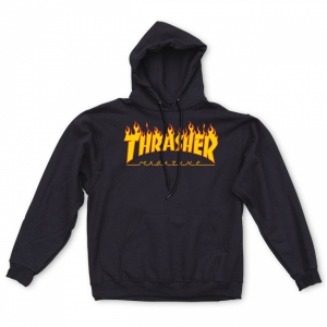 THRASHER / FLAME LOGO PULLOVER HOODIE (BLACK)