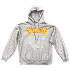 THRASHER / FLAME LOGO PULLOVER HOODIE (GRAY)