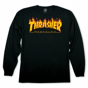THRASHER / FLAME LOGO  L/S TEE (BLACK)