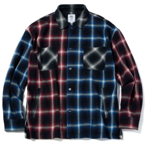 MSML / CRAZY PATTERN BALLOON OMBRE CHECK SHIRTS (BLACK/RED/BLUE)