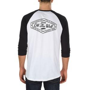 VANS / ORIGINAL LOCKUP POCKET RAGLAN TEE (WHITE/BLACK)