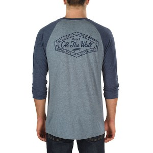 VANS / ORIGINAL LOCKUP POCKET RAGLAN TEE (HEATHER GREY/NAVY HEATHER)