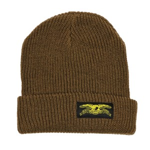 ANTI HERO /  BASIC EAGLE LABEL CUFF BEANIE (MED BROWN/YELLOW)
