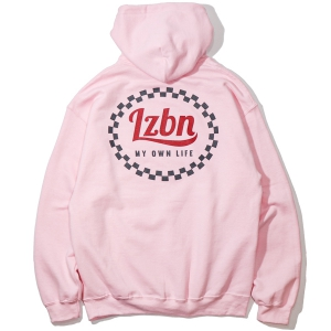 LZBN / CHECKERED CIRCLE PULLOVER HOODIE (LIGHT PINK)