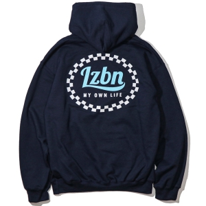 LZBN / CHECKERED CIRCLE PULLOVER HOODIE (NAVY)