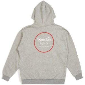 BRIXTON / WHEELER HOOD FLEECE (HEATHER GREY/RED)
