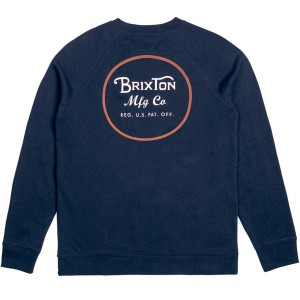 BRIXTON / WHEELER CREW FLEECE (NAVY/ORANGE)