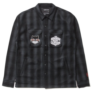 THE HUNDREDS X MISTER CARTOON / MISTER CARTOON PLAID BUTTON-UP SHIRT (BLACK)