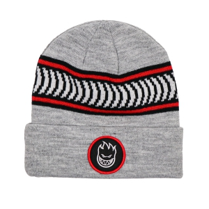 SPITFIRE / BIGHEAD CIRCLE PATCH CLASSIC STRIPE CUFF BEANIE (H.GREY/BLACK/WHITE/RED)