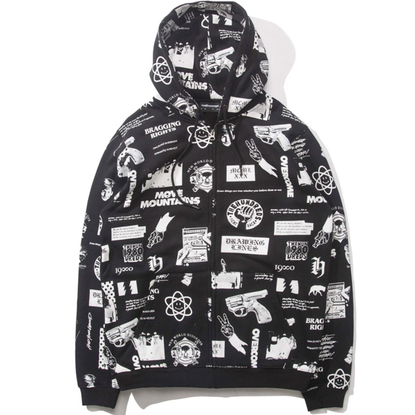 THE HUNDREDS / WARNING ZIP-UP HOODIE (BLACK)