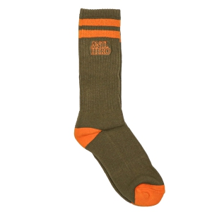 ANTIHERO / BLACKHERO OUTLINE SOCKS (OLIVE/ORANGE)