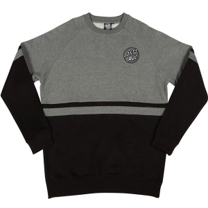 SANTA CRUZ / DOT STRIPED CREWNECK SWEAT (HEATHER GREY/BLACK)