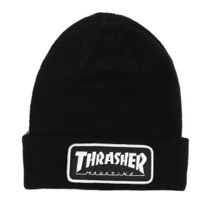 THRASHER / LOGO PATCH BEANIE (BLACK)
