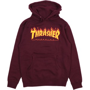 THRASHER / FLAME PULLOVER HOODIE (MAROON)