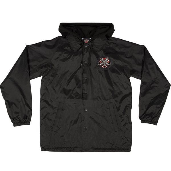 INDEPENDENT X THRASHER / PENTAGRAM CROSS HOODED COACHES JACKET (BLACK)