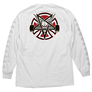 INDEPENDENT X THRASHER / PENTAGRAM CROSS L/S TEE (WHITE)