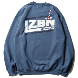 LZBN / MILK SLANT CREWNECK SWEAT (INDIGO/MILK)