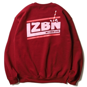 LZBN / MILK SLANT CREWNECK SWEAT (GARNET/STRAWBERRY MILK)