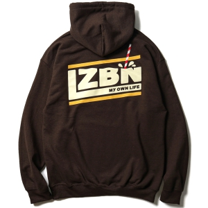 LZBN / MILK SLANT PULLOVER HOODIE (BROWN/BANANA MILK)
